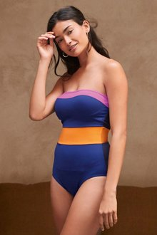 Next Colourblock Bandeau Shape Enhancing Swimsuit