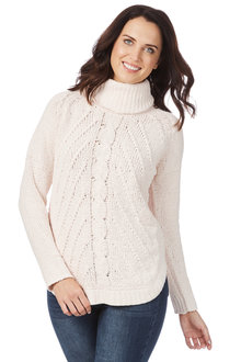 Table Eight Long Sleeve Cowl Chenille Cable Knit