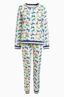 Next Multi Horse Print Cotton Long Sleeve Pyjamas