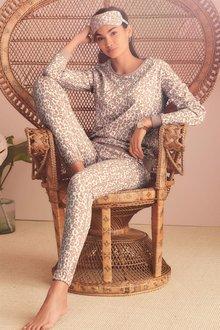 Next Pink Animal Print Cotton Long Sleeve Pyjamas