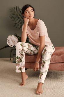 Next Pink Floral Print Short Sleeve Pyjamas