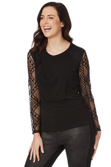 Table Eight Long Sleeve Twist Neck Lace Knit Top