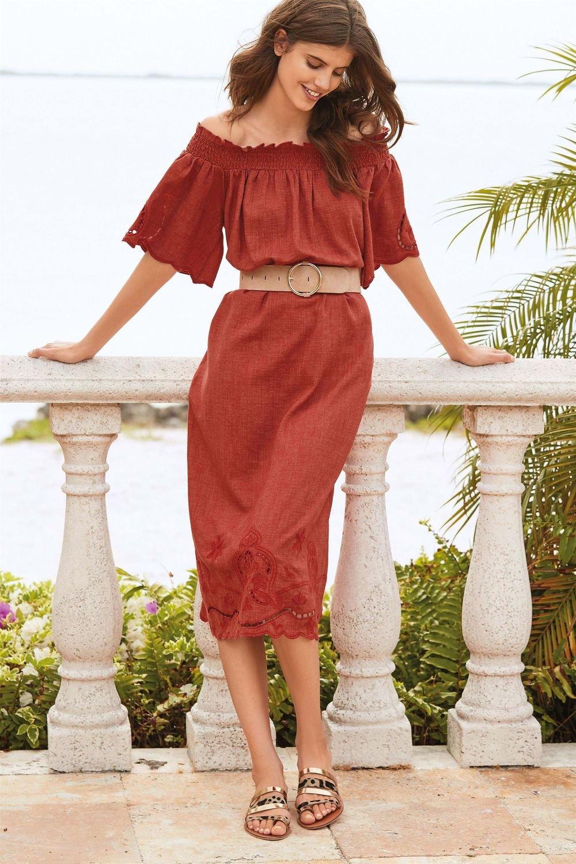66ac33e13e Next Off Shoulder Linen Blend Midi Dress Online | Shop EziBuy