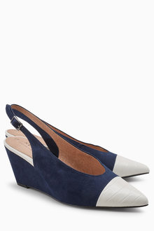 Next Toe Cap Slingback Wedges