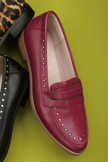 Next Leather Studded Penny Loafers