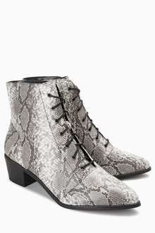 Next Lace Up Western Ankle Boots