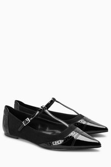 Next Pointed T-Bar Shoes