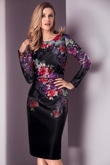 Kaleidoscope Floral Printed Scuba Dress - 211320