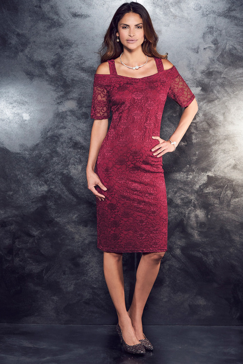 Kaleidoscope Cold Shoulder Lace Dress