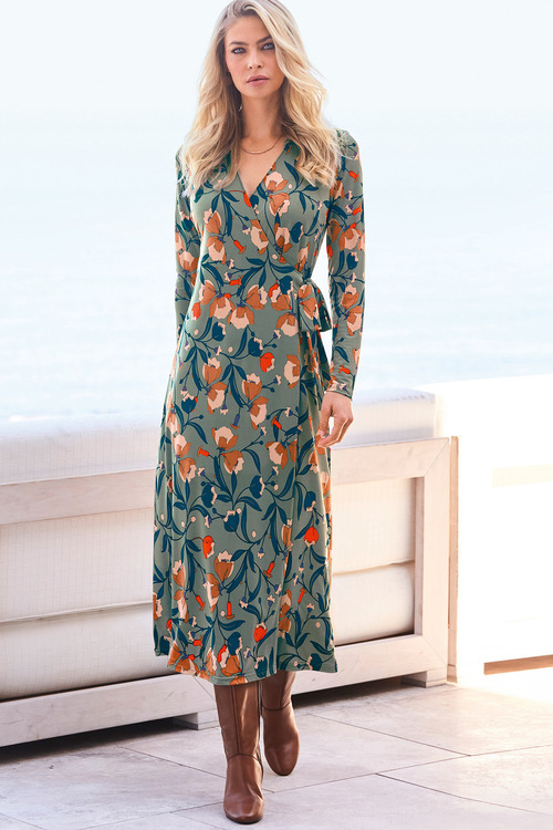 Kaleidoscope Floral Print Wrap Dress