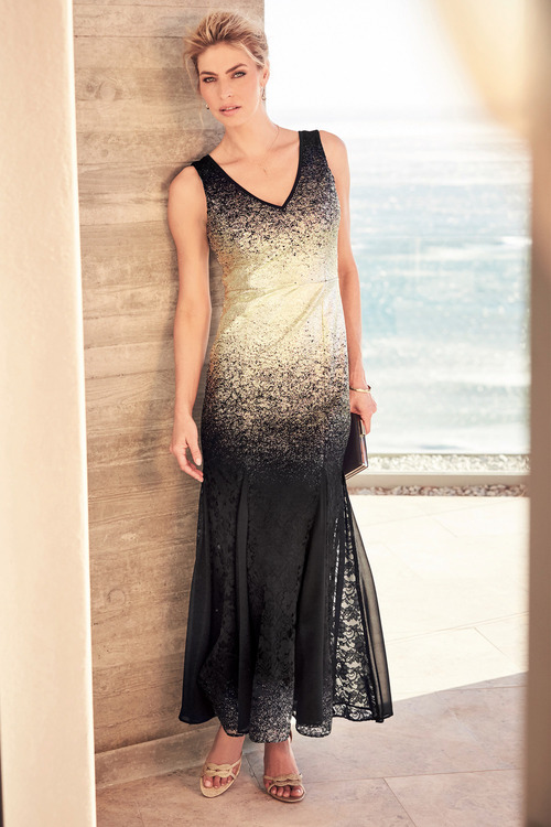 Kaleidoscope Lace Foil Print Long Gown