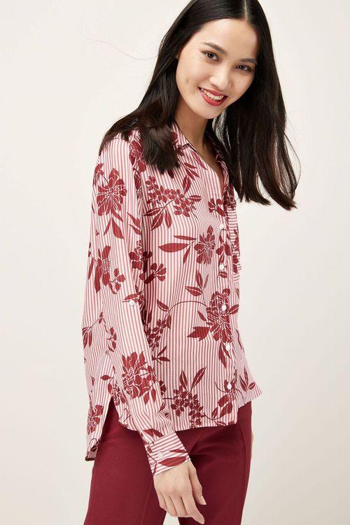 Next Floral Print Stripe Shirt - Petite
