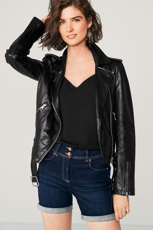 Next Leather Biker Jacket - Petite