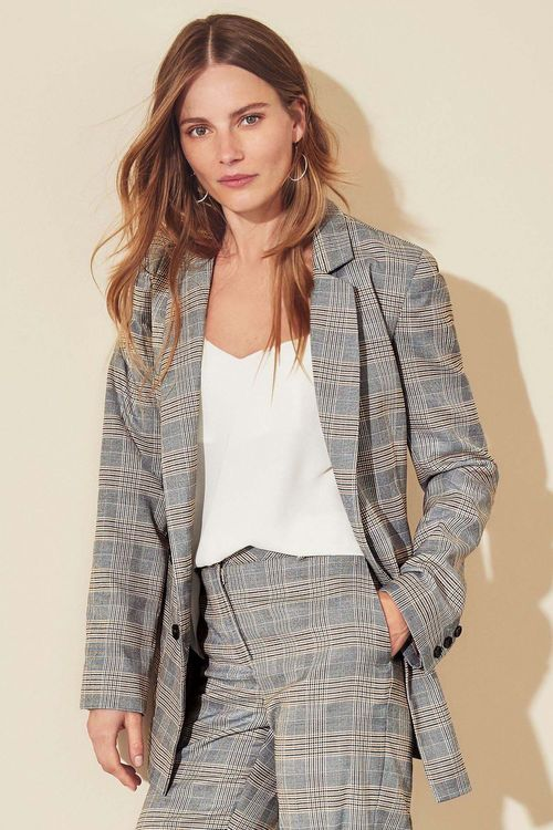 Next Check Double Breasted Jacket - Petite