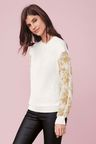 Next Woven Sleeve Sweater - Petite