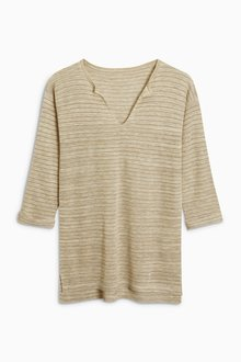 Next Metallic Stripe V-Neck Sweater
