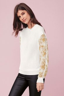 Next Woven Sleeve Sweater