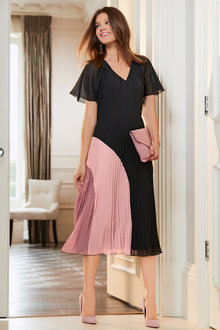 Together Flutter Sleeve Pleated Dress