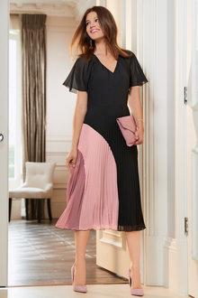Together Flutter Sleeve Pleated Dress - 211483