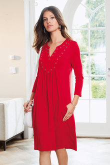 European Collection Eyelet Trim Pocket Dress - 211484