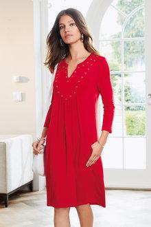 European Collection Eyelet Trim Pocket Dress
