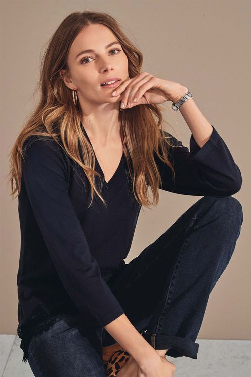 Next Lace Hem Sweater