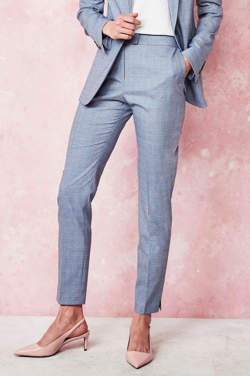 Next Windowpane Check Slim Trousers - Petite