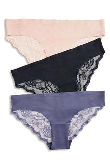 Next Lace No VPL Brazilian Briefs Three Pack