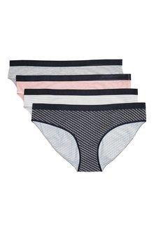 Next Cotton Rich Logo Bikini Knickers Four Pack