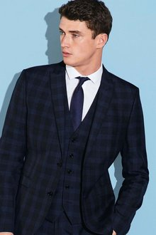 Next Navy Check Suit: Waistcoat