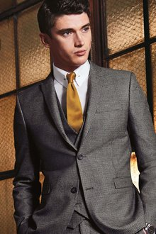 Next Grey Check Suit: Waistcoat