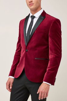 Next Velvet Peak Lapel Jacket - Skinny Fit
