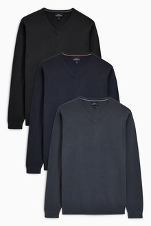 Next V-Neck Jumpers Three Pack
