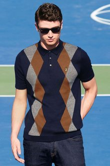Next Knitted Argyle Pattern Polo