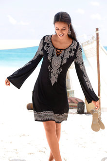 Urban Long Sleeve Paisley Dress - 211754