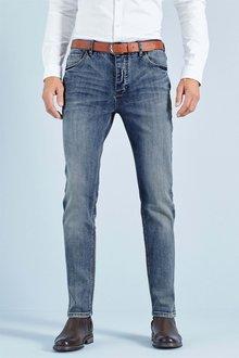 Next Light Blue Slim Fit Belted Jeans