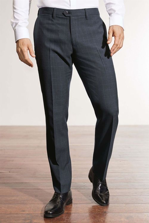 Next Wool Blend Check Trousers - Slim Fit