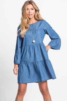 Urban Tiered Chambray Dress