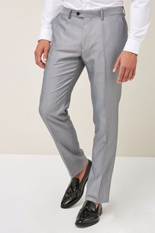 Next Light Grey Slim Fit Shawl Collar Tuxedo Suit: Trousers