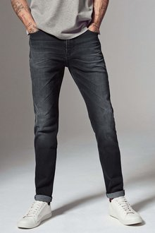 Next Dark Grey Soft Twill Jeans - Straight Fit