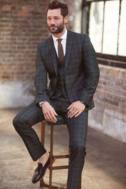 Next Slim Fit Check Suit: Trouser