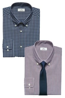 Next Check Slim Fit Shirts Two Pack With Tie