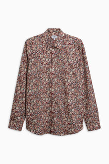 Next Burgundy Long Sleeve Floral Print Shirt