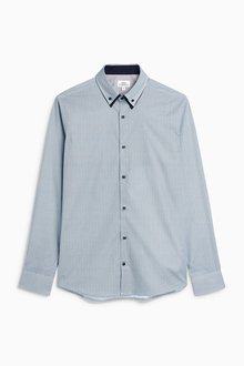 Next Blue Long Sleeve Double Collar Shirt