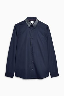 Next Navy Long Sleeve Double Collar Shirt