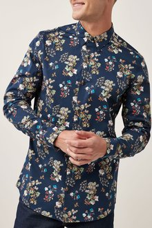 Next Navy Long Sleeve Floral Print Shirt