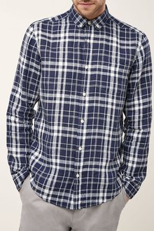 Next Navy/White Check Long Sleeve Pure Linen Shirt
