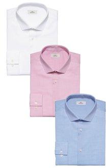 Next Textured Shirt Three Pack - Slim Fit Single Cuff