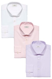 Next Slim Fit Single Cuff Check And Texture Shirts Three Pack