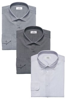 Next Stripe And Texture Shirts Three Pack - Regular Fit Single Cuff